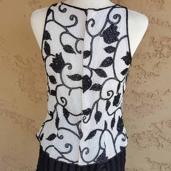 Vintag Pure Silk Sleeveless Top Bold Beaded Shinny Sequins Hand Embroidered SIZE M Steel Boned Corset Sphaghetti Straps Very Elegant Blouse
